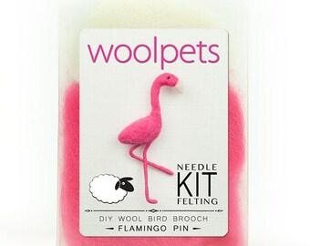 Flamingo Pin Needle Felting Kit