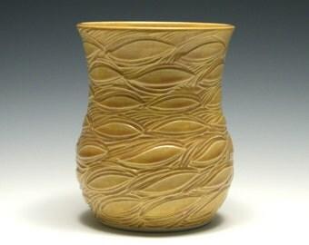 Dark Yellow Carved Leaf Vase