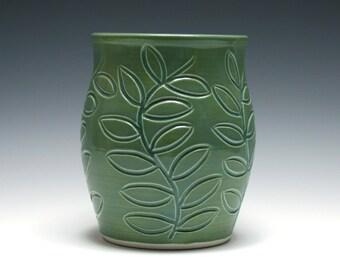 Green Vase, Green Ceramic Vase, Pottery Vase, Branch and Leaf Design, Grass Green Glaze, Home Decor