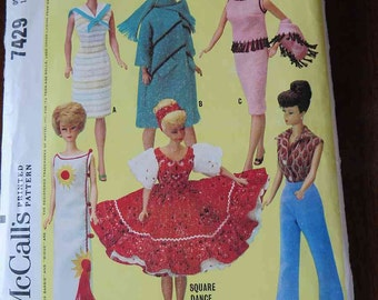 Vintage 60s McCalls 7429 Barbie Doll Instant Wardrobe Sewing Pattern