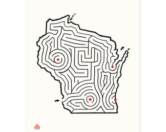 "8x10"" WISCONSIN Maze Print 
