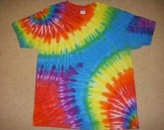 XL tie dye t-shirt, double rainbow, extra large