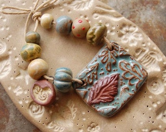 Sweet Fall Leaves / Ceramic Pendant and Bead Set