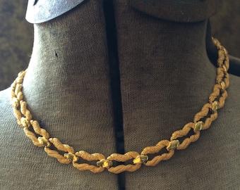 Vintage Gold Crown Trifari necklace choker length