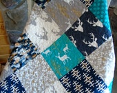 Baby Boy Woodland Quilt Deer Buck Gray Navy Teal Nursery Bedding Rustic Crib Bedding Brambleberry Ridge Antlers