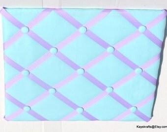 Aqua Memory Board French Memo Board, Aqua Fabric Pin Board, Fabric Ribbon Memo Bulletin Board, Christmas Gift
