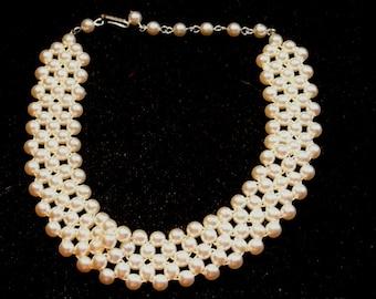 Choker Necklace, Vintage Faux Pearl Choker Necklace, White Pearl Choker Necklace, Gift For Her