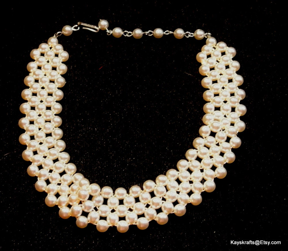 Vintage Pearl Choker Necklace: Choker Necklace Vintage Faux Pearl Choker Necklace White