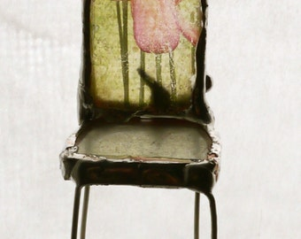 Miniature Art Chair- Spring Sprouted - Glass Chair One of a KInd -