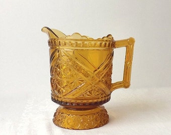 Antique 1885 Richards and Hartley Amber Glass Pitcher, Daisy & Button with Crossbars Pattern