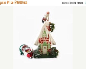 Vintage Plastic Santa on Chimney House, Christmas Decoration, Holiday Decor, Red White and Green