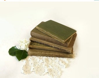 5 Vintage Green Small Books, Home Library Instant Collection, Copyrights 1905 to 1940, Holiday or Wedding Table Decor, Book Stack Photo Prop