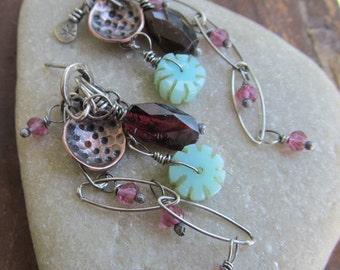 Dangling Earrings Silver Charm Stud Earrings BOHO Stud Earrings Pink Gemstone Cluster Long Earrings Funky Silver Jewelry Mixed Metal Jewelry