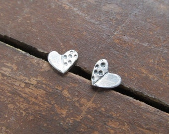 HEART Earring Small Silver Stud Earrings Sterling HEART Stud Earring Stamped Silver earrings Hearts Small Post Earrings Funky Silver Jewelry