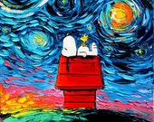 Snoopy Art - Peanuts Cartoon Starry Night print van Gogh Never Saw Woodstock by Aja DIGITAL DOWNLOAD