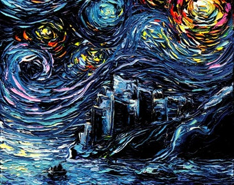 Game of Thrones Art - GoT Starry Night print van Gogh Never Saw Dragonstone by Aja 8x8, 10x10, 12x12, 20x20, and 24x24 inches choose