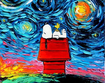 Snoopy Art - Peanuts Cartoon Starry Night print van Gogh Never Saw Woodstock by Aja DIGITAL DOWNLOAD