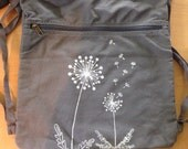 RESERVED FOR JONI, Dandelion Back Pack-Cinch Sack-Screen Printed Cotton Canvas, Back to School Supplies, Viva Sweet Love