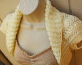 Ivory Knit Shrug with Fern Lace