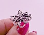 Adjustable Silver Octopus Ring Kraken Ring