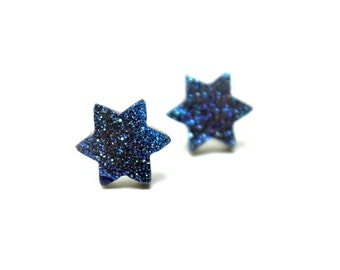 Blue Druzy Stud Earrings Metallic Earthy Star of David Genuine Cobalt Navy Titanium Drusy Quartz Jewish Judaica Jewelry Sterling Silver Post