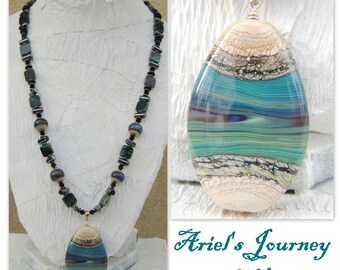 Ariel's Journey Handmade Lampwork Bead, Czech Glass, Hematite, Crystal Pendant Necklace