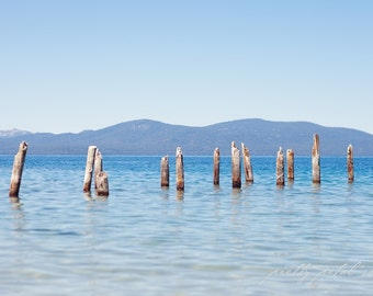 Fine Art Photo, Lake Tahoe Art, Water, Mountain Range, Sky Blue, Skunk Harbor Photo, Lake Pillars, Resort Art, Lake Tahoe Photo, Travel Art