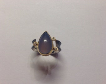 Patined sterling ring  with blue chalcedony and 18K Gold and Diamonds
