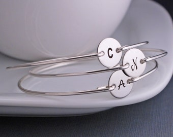 Bachelorette Party Favors, TEN, Bridesmaid Gift, Bridesmaid Jewelry, Initial Bangle Bracelets