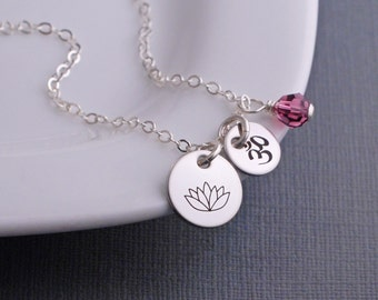 Yoga Necklace, Engraved Lotus Necklace, Yoga Jewelry, Silver Lotus Charm Necklace, Charm Necklace