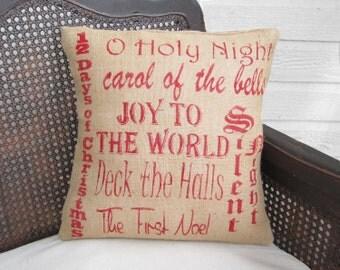 Christmas Carols - Burlap Christmas Pillow