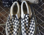 Vans Checkerboard Slip-On black and off white shoes US men's size 8.0