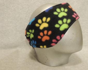 Adult Fleece Ear Warmers Muffs Headband Colorful Paw Prints