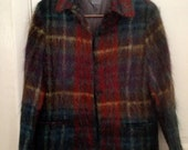 Mohair Coat Ann Freedberg Wool Blend Watch Plaid Dressy Casual Jacket Made USA 38 40 Bust Fits large Untagged