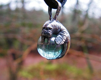 Sterling Silver Walrus Pendant With Aqua Aura