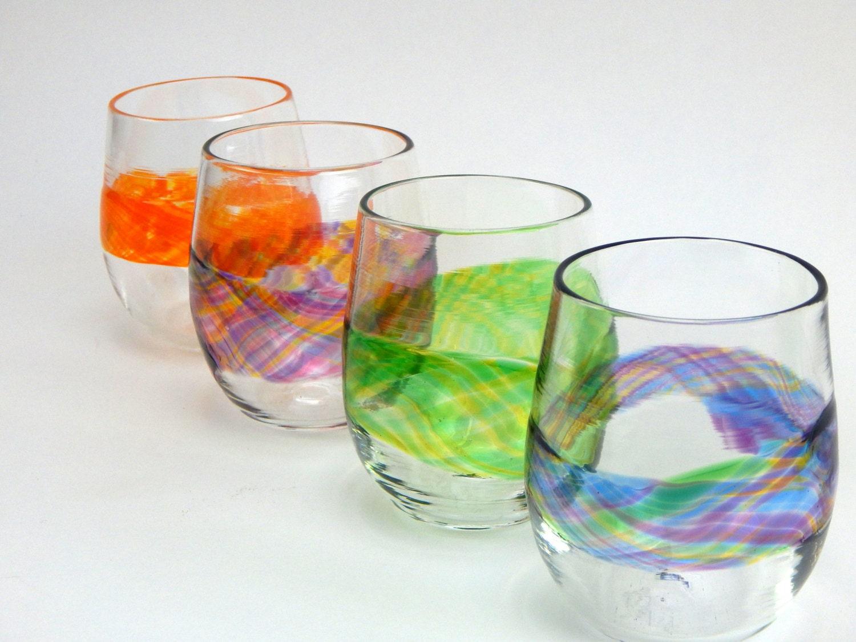 Hand blown art glass stemless wine glasses watercolor series - Hand blown stemless wine glasses ...
