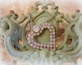 vintage opal rhinestone necklace in original box with 2 different chains