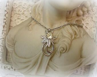 vintage sterling necklace signed van dell vintage VAN DELL sterling necklace with cz