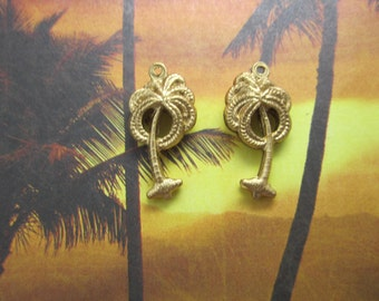 Palm Tree Charms Double Sided 3-D with Textured Fronds Brass Charms on Etsy-Quantity Choice