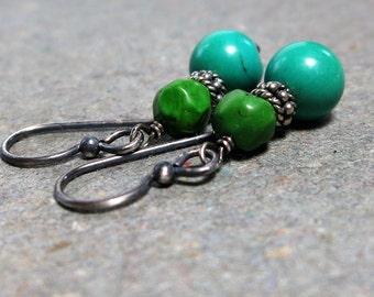 Blue Green Turquoise Earrings Sterling Silver Earrings December Birthstone Earrings Beaded Earrings Oxidized Earrings