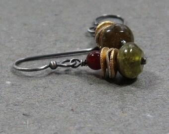 Green Garnet Earrings Carnelian Earrings Sterling Silver Oxidized Earrings