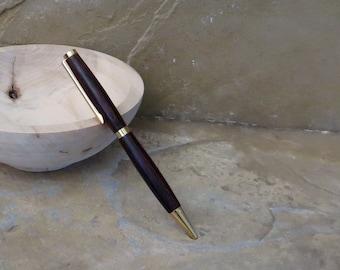 Ball Point Pen - Hand Turned Brazilian Walnut Wood - Black Ink Cartridge