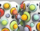Random Mod Spot Bitty Barrels--Handmade Lampwork Beads