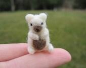 Needle Felted Miniature White Bear Tiny figure