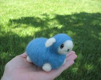 Felted Kawaii Blue Sheep Nursery Decor