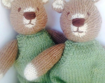 Natural handknit Teddy Bear Eco Kids Toy Heirloom Family Toy