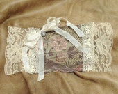 Gorgeous Lavender Sachet Featuring Antique Tapestry, Vintage Lace and Rhinestone Button