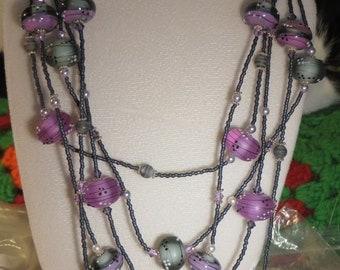 Grace Beads Gray-Purple-Pink Necklace