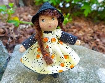Candy Corn Witch - Art Doll Minature