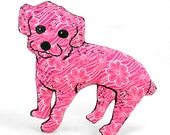 decorative pillow, medium miniature poodle dog shaped pillow softie poodle hot pink floral fabric